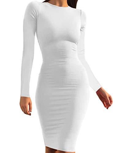 Mokoru Women's Casual Basic Pencil Dress Sexy Long Sleeve Bodycon Midi Club Dress, Small, White