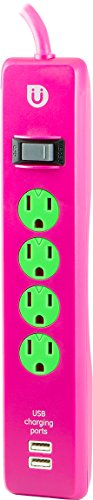Uber 4 Outlet Power Strip, 2 USB Ports, 4ft Cord, Safety Covers, Pink/Green, 25118