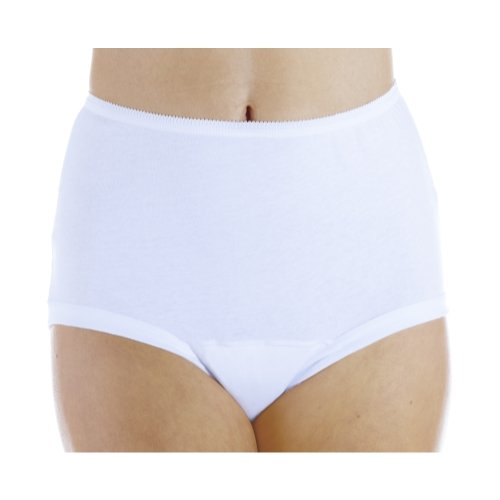 3-Pack Women's White Banded Leg Regular Absorbency Incontinence Panties Large (Fits Hip 41-42) (White Incontinence Panty)