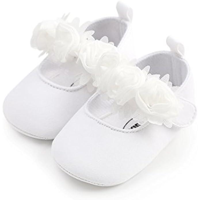 Isbasic Baby Girls Flat Shoes Toddler Soft Sole Mary Jane Princess Christening Baptism Crib Shoes