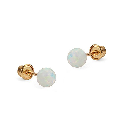 14k Yellow Gold 4mm Simulated Opal Ball Children Screw back Girls Earrings