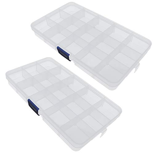 Yootop 2Pcs 15-Grid Plastic Component Case Jewelry Organizer Electronics Small Parts Storage Box