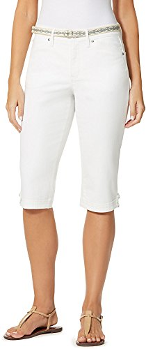Gloria Vanderbilt Womens Lillian Belted Capris 8 Shell white