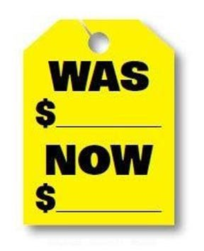 50 per Pack Fluorescent Orange - Car Signs Donkey Auto Products was//Now Price Mirror Hang Tags