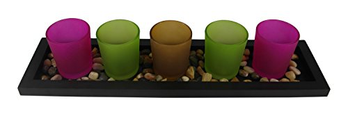Colored Frosted Glass Tealight Candle Holder Set W\ Display Tray & Decorative Stones By Xsellr8r - Frosted Glass Tealight