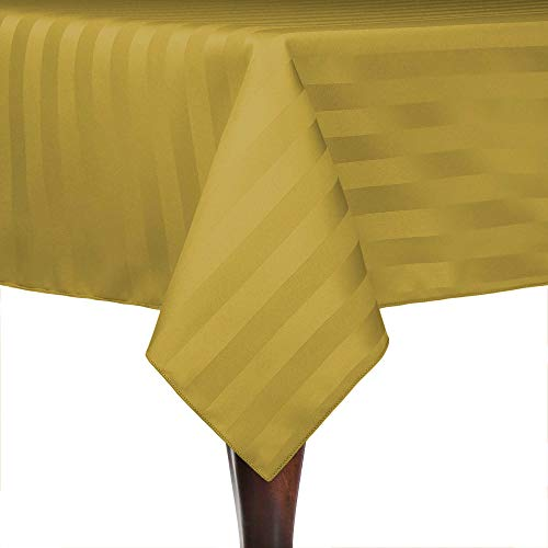Ultimate Textile -22 Pack- Satin-Stripe 84 x 84-Inch Square Tablecloth, Gold ()