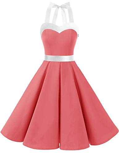 DRESSTELLS 50s Retro Halter Rockabilly Bridesmaid Audrey Dress Cocktail Dress Coral White M