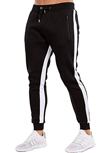 Ouber Men's Gym Jogger Pants Slim Fit Workout Running Sweatpants with Zipper Pockets (S,Black)