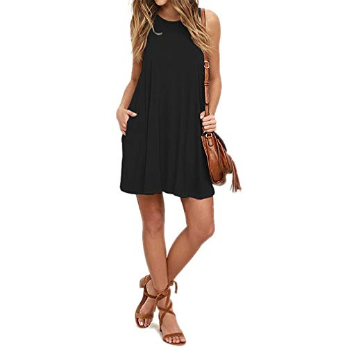 Blend Sleeveless Dress - SHETOP Womens Flowy Swing T-Shirt Dress, Ladies Black Elegant Vintage Sexy Elegant Party Scoop Neck Casual Sleeveless Loose Fit Sundresses with Pockets for Women,Black,Small