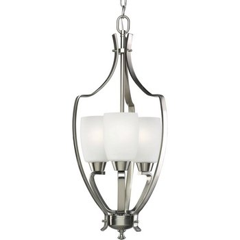 Progress Lighting P3509-09 3-Light Foyer with Etched Glass and Arching Rectangular Arms with Strap Accents, Brushed Nickel