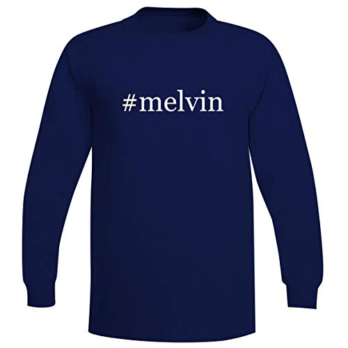 The Town Butler #Melvin - A Soft & Comfortable Hashtag Men's Long Sleeve T-Shirt, Blue, Small