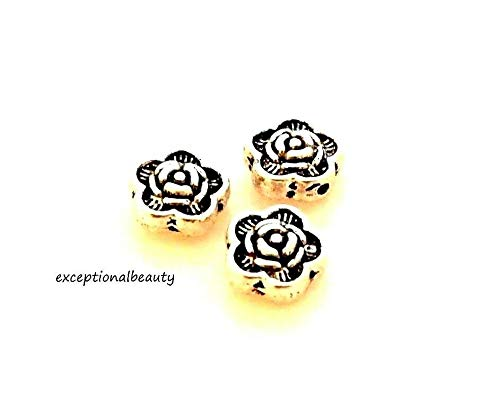 (50 Tibetan Antiqued Silver 7x3.5mm Rose Flower Spacer Puffed Coin Beads)