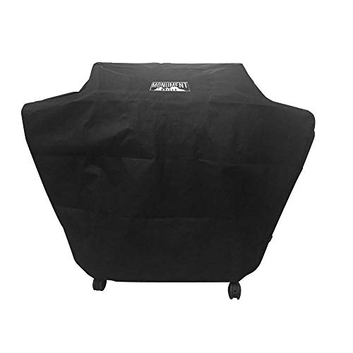 (Monument Grills Polyester Water Resistant Grill Cover for 4 Burner Grills, Black)