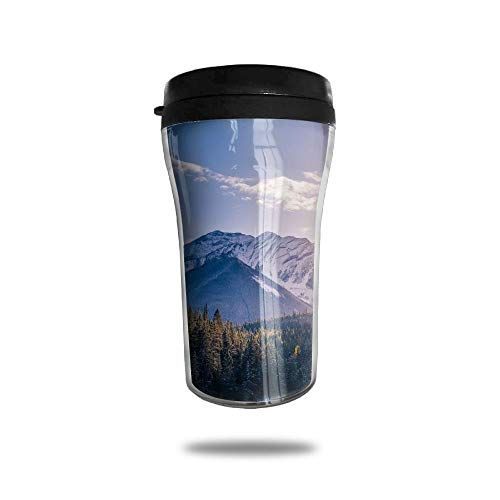 with Lid, Mountains Forest Peak Summit Sunset Personalized Custom 250ml Coffee Cup Tea Mug Travel Vacuum Mugs Drink Bottle ()