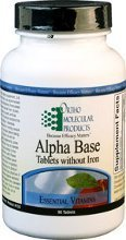 Ortho Molecular Products Alpha Base Tablet Without Iron, 180 Count