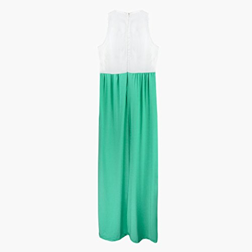 Elite99® - Robe - Cocktail - Sans Manche - Femme blanc White Top Green dress 34