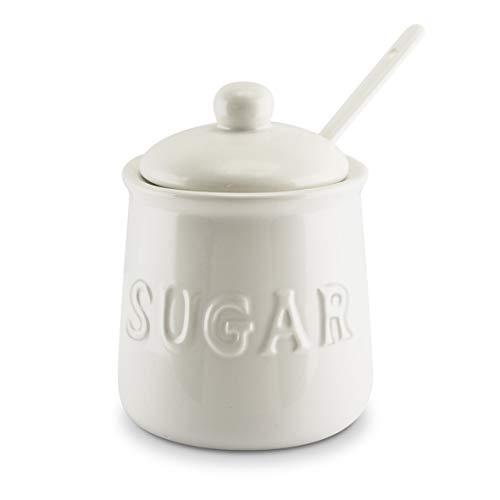 KOVOT Ceramic Sugar Jar & Spoon Set, 16 oz, White