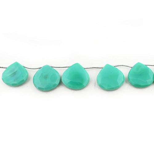 GemAbyss Beads Gemstone 1 Strand Natural Chrysoprase Faceted Briolettes - Heart Beads 23x23mm-25x25mm 8.5 inch Code-MVG-14634 ()