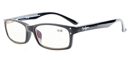 Eyekepper Spring Hinges with UV Protection, Anti Blue Rays, Anti Glare and Scratch Resistant Lens Computer Reading Glasses Black - Premium Reading Glasses