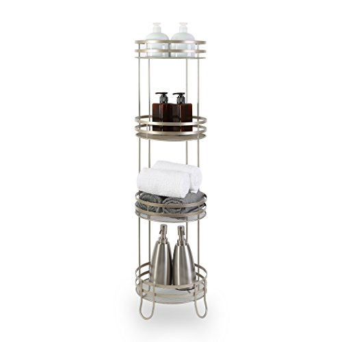 BINO Lafayette' 4-Tier Round Spa Tower, (Chrome Bathtub Shelf)
