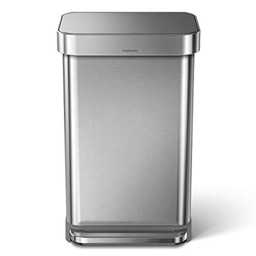 simplehuman 45 Liter / 12 Gallon Stainless Steel Rectangular Kitchen Step Trash Can with Liner Pocket, Brushed Stainless Steel (Renewed)