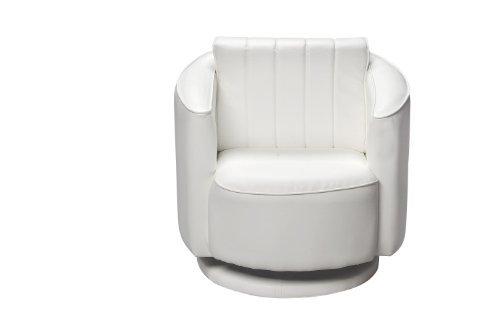 Gift Mark Upholstered Swivel Chair- White- 33 Pounds price