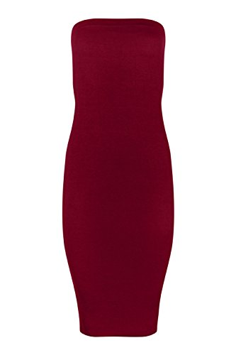 FASHION BOOMY Women's Strapless Stretchy Comfort Basic Midi Tube Bodycon Dress (2X-Large, - Burgundy Slip