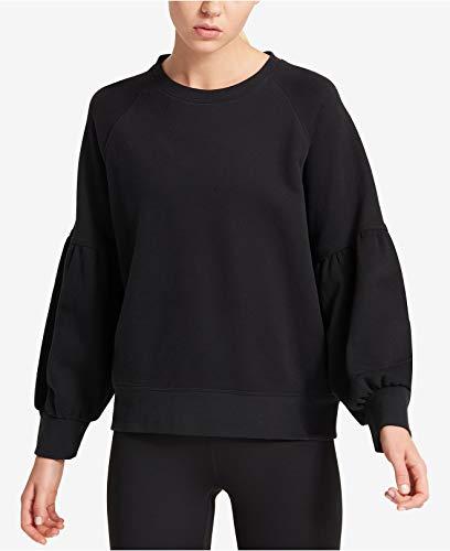 DKNY Women's Cotton Balloon-Sleeve Sweatshirt Black Small by DKNY