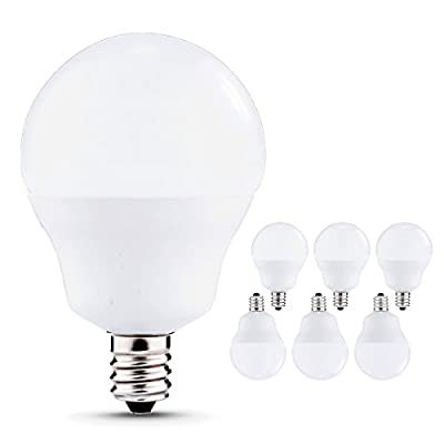 60W Equivalent LED Candelabra Bulbs, Jandcase 5W LED Globe Light Bulbs, Daylight White 5000K, 600lm, E12 Base, Not Dimmable, A15 Light Bulbs for Ceiling Fans, Vanity Mirror, Pack of 6
