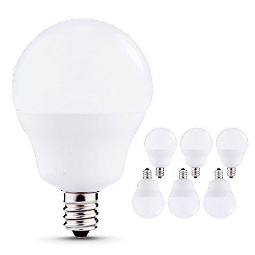 JandCase LED Globe Candelabra Light Bulbs, 50W Incandescent Equivalent, 5W, 600lm, Natural Daylight White 4000K, Tiny G14 LED Bulbs for Ceiling Fan, E12 Base, 6 Pack