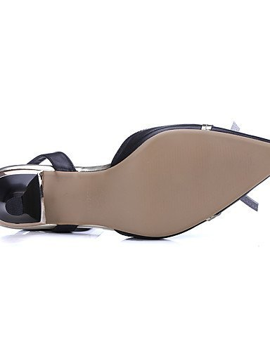 ShangYi Womens Shoes Nappa Leather Kitten Heel Heels / Slingback / Gladiator / Comfort / Novelty / Pointed Toe Black