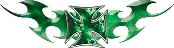Tribal Flames With Maltese Cross Skull Green - 2.5