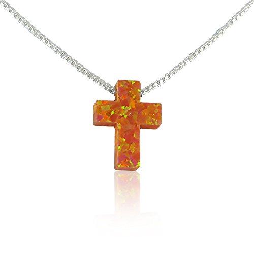 Orange Cross (Orange Opal Cross Necklace - 15 to 22)