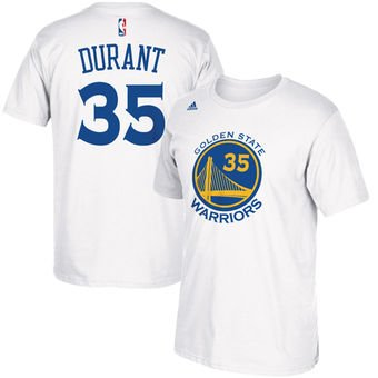 reputable site 6b5ee 3756a adidas Kevin Durant Youth Golden State Warriors White Name and Number  Jersey T-Shirt Small 8