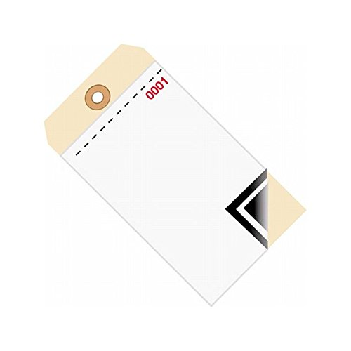 """Box Packaging 3-Part Blank Carbon Inventory Tag, 10 Point, Plain, 6.25"""" x 3.12"""" - Case of 500"""