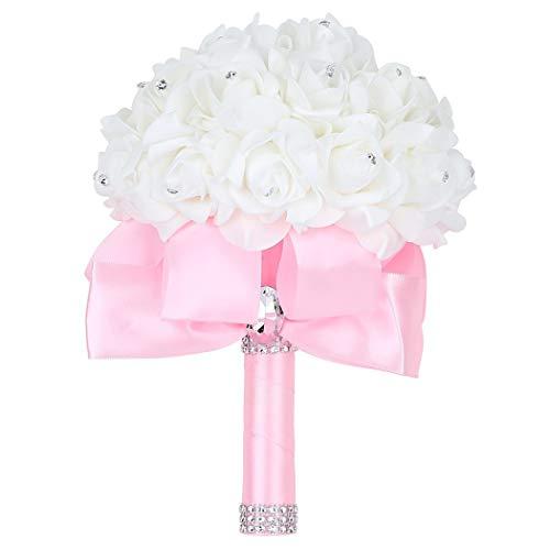 Faylapa Wedding Bridal Bouquet,Crystal Pearl Silk Roses Pink Bridal/Bridesmaid Hand Flowers,Wedding│Engagement │Valentines Day Decor