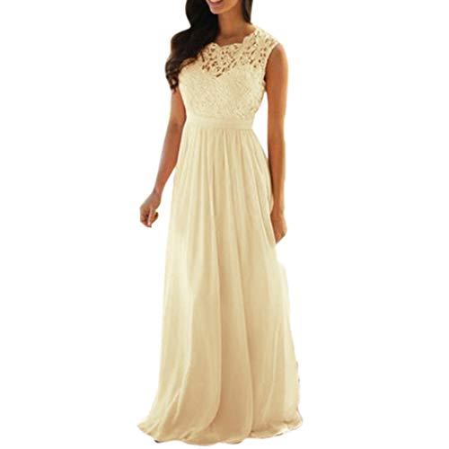 iLUGU Women Lace Applique Elegant Coral Bridesmaid Dresses Wedding Guest Dress Sleeveless Backless Dress