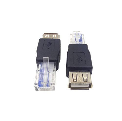 Haokiang (2-Pack) AF-RJ45 USB2.0 Female to Ethernet RJ45 Male AF-8P8C Connector,USB Transfer Network Plug Adapter