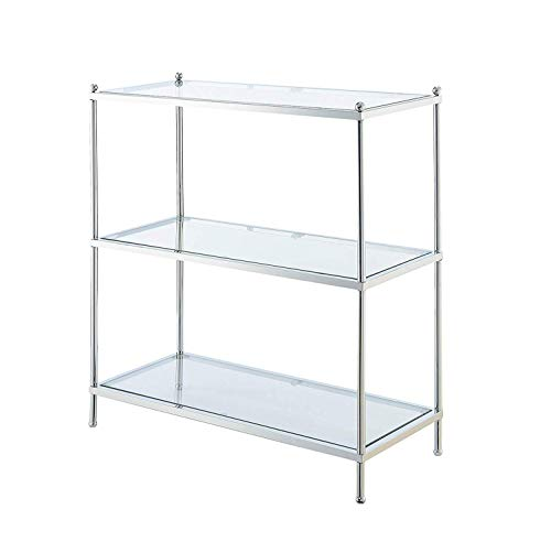Convenience Concepts 134002 Royal Crest 3-Tier Bookcase, Clear Glass/Chrome Frame (Unit With Tv Drawers)