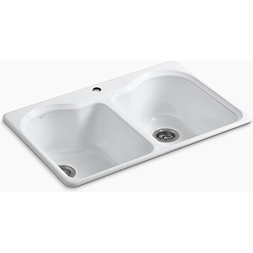 Bowl Rimming Double Self Hole (KOHLER K-5818-1-0 Hartland Self-Rimming Kitchen Sink with Single-Hole Faucet Drilling, White)