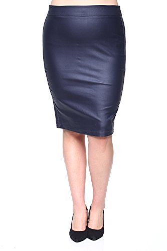 Rokoko Women's High Waist Knee Length Slim Fit Office Pencil Skirt - 3XL - Navy