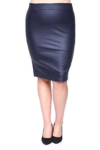 Rokoko Women's Plus Size Stretchy High Waist Midi Office Pencil Skirt - 2XL - Navy by rokoko by Dazz