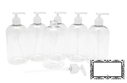 BAIRE BOTTLES - 16 OZ CLEAR REFILLABLE PLASTIC BOTTLES with WHITE PUMPS - ORGANIZE Soap, Shampoo and Lotion with a Clean, Clear Look - PET, Lightweight, BPA Free - 6 Pack, BONUS 6 DAMASK LABELS ()