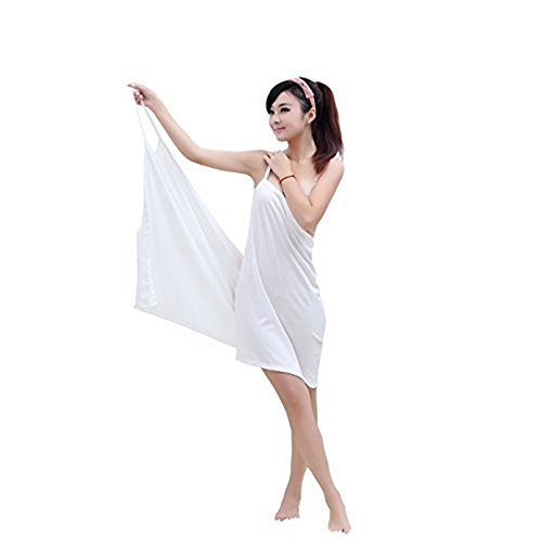 [MareLight Elegant Design Sexy Women's Creative Deep V Sling Backless Bath Skirt Swimwear Cover up,Bikini Cover Jacket,5528 Inch-White Color-Material Microfibre-BATHROBE AND BATH TOWEL] (Microfibre Dress)
