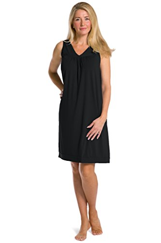 Fishers Finery Women's Tranquil Dreams Sleeveless Nightgown Comfort Fit, Black, XX-Large Bamboo Dreams Nightshirt