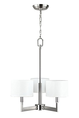 Linea di Liara Allegro 3-Light Pendant Chandelier - Brushed Nickel White Fabric (Contemporary Brushed Nickel Chandelier)