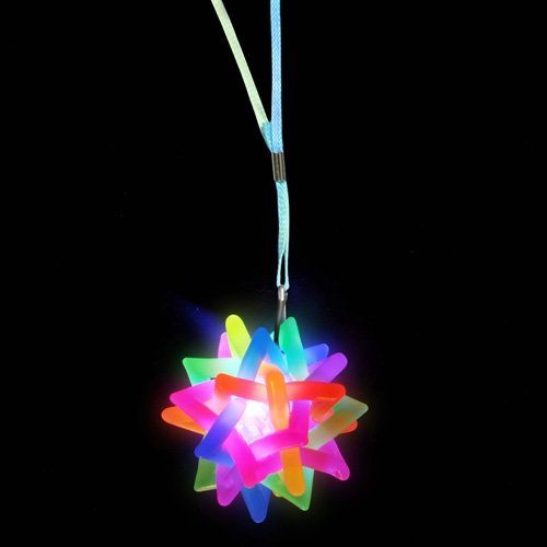 Flashing Rainbow Ball Novelty Necklace - 1 per pack