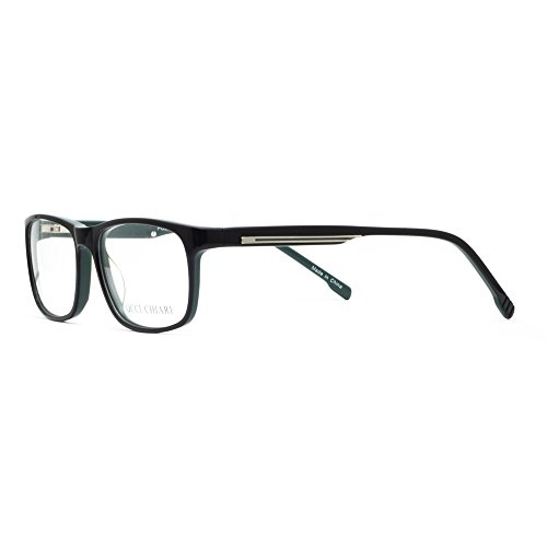 OCCI CHIARI Casual Rectangle Full-Rim Optical Eyewear Frame With Clear Lenses(Black/Dark Green, - Fade Glasses Frames