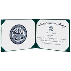 7510007557077 Award Certificate Binder, 8 1/2 X 11, Army Seal, Green/Gold