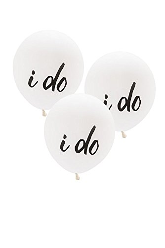 17 Inch White Round I Do Balloons Set of 3 Style 4531, White (Bottle White Seashell Stopper)